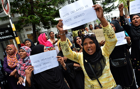 Tension is increasing, amid fears that there could be violent protests, in Maldives capital after the police blocked elections