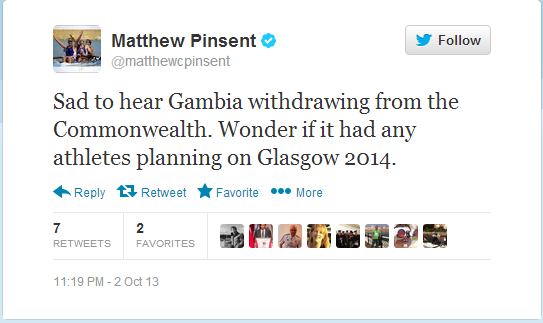 Matthew Pinsent reacting to Gambias withdrawal on social media