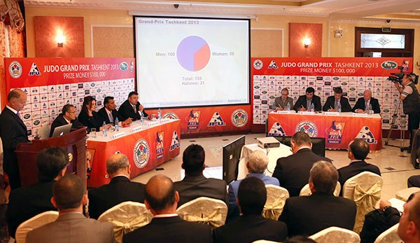 Officials attending the draw for the inaugural Tashkent Grand Prix in the Uzbekistan Sports Complex