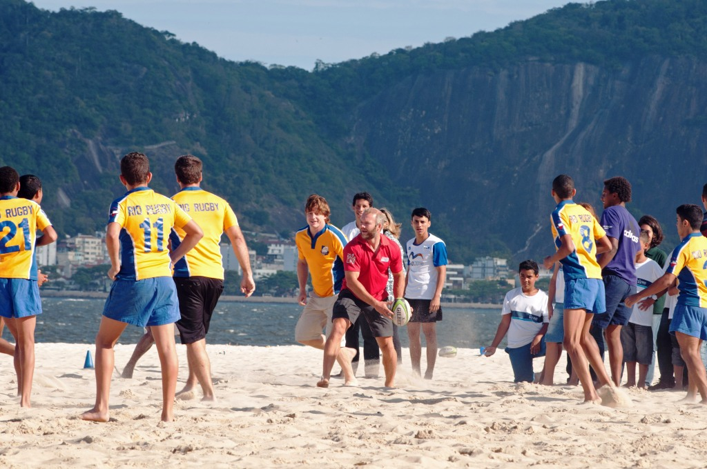 Ollie Phillips shows off his skills on Flamengo beach in Rio