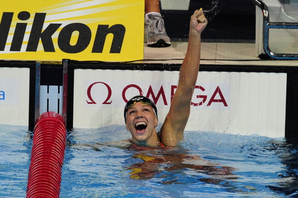 One of Europes biggest stars in Yulia Efimova celebrates after winning the 50m breaststroke at the 2013 FINA World Championships
