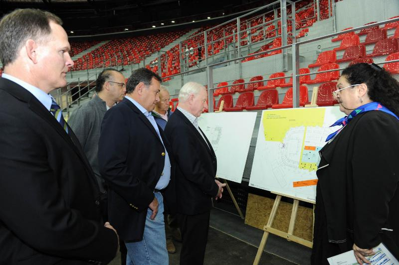 European Olympic Committee President Patrick Hickey is shown details of the plans Baku 2015 have prepared in the Crystal Hall, which is due to host five sports during the first European Games