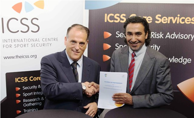 President of the LFP Javier Tebas (left) and Mohammed Hanzab President of the ICSS shake hands on the new partnership at the Leaders in Football Conference in London