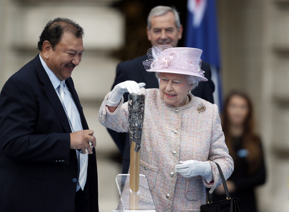 Prince Imran alongside the Queen as she got the Baton Relay underway in the forecourt of Buckingham Palace