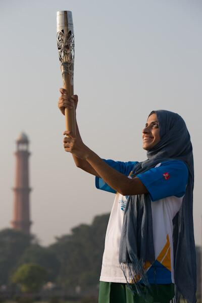 Pakistan's karate player Benish Akbar took part in the Queen's Baton Relay as it visited Lahore