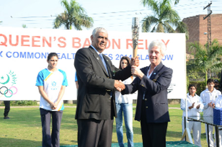 The Queen's Baton Relay event in Lahore was hosted by Arif Hasan, President of the Pakistan Olympic Association, and attended by Louise Martin, secretary of the Commonwealth Games Federation and a Board member of Glasgow 2014