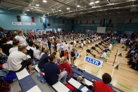 Rowers perform in front of enthusiastic school mates at the UEL