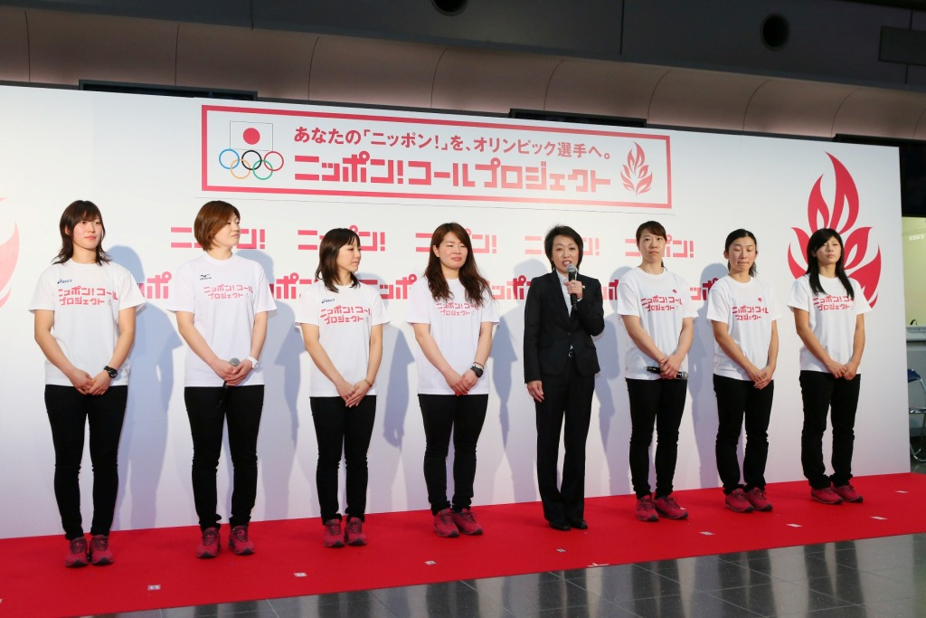 "Seiko Hashimoto and players from Japan's women's ice hockey team launched the ""Nippon Call Project"" app to mark the 100 day countdown to Sochi 2014"