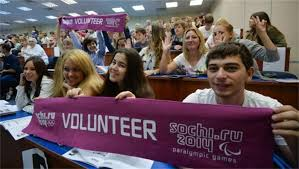 Sochi volunteers meeting athletic stars from Russia earlier in 2013