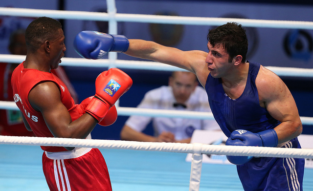 St Pierre Joseph of Mauritius took on Turkeys Yildirim Avni on day three of the World Boxing Championships in Almaty