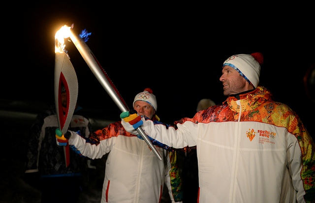 The Sochi 2014 Flame is lit at the North Pole