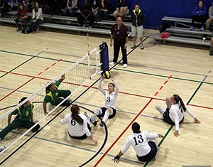The US womens sitting volleyball team on  way to victory over Brazil at the Pan American Zonal Championships