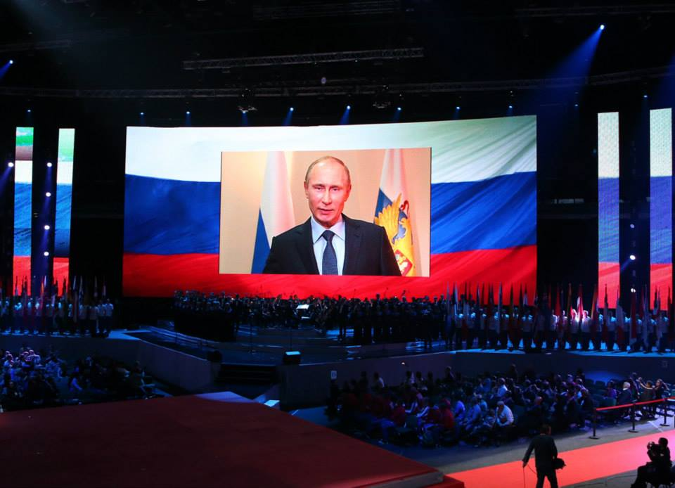 A message from Russian President Vladimr Putin was relayed on giant screens at the Opening Ceremony of the SportAccord World Combat Games
