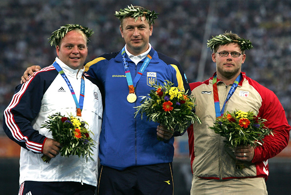 Yuriy Bilonoh's Olympic gold medal ultimately went to Adam Nelson - almost nine years after Athens 2004