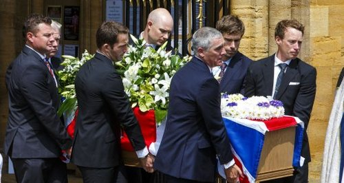 Sir Ben Ainsle and Iain Percy were among the pall-bearers at Andrew Simpson's funeral