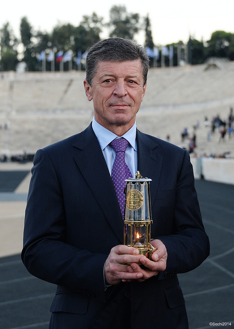 Russia's Deputy Prime Minister Dmitry Kozak was entrusted with the Olympic Flame after it was handed over to Sochi 2014 in Athens before its journey to Moscow