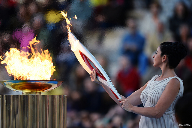Sochi 2014 received the Olympic Flame following a special ceremony at the Panathenaic Stadium in Athens