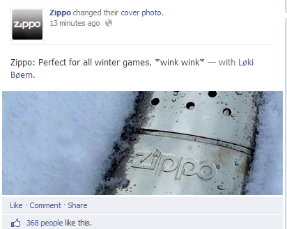 Zippo replaced the original image on their Facebook page with this new picture and tagline
