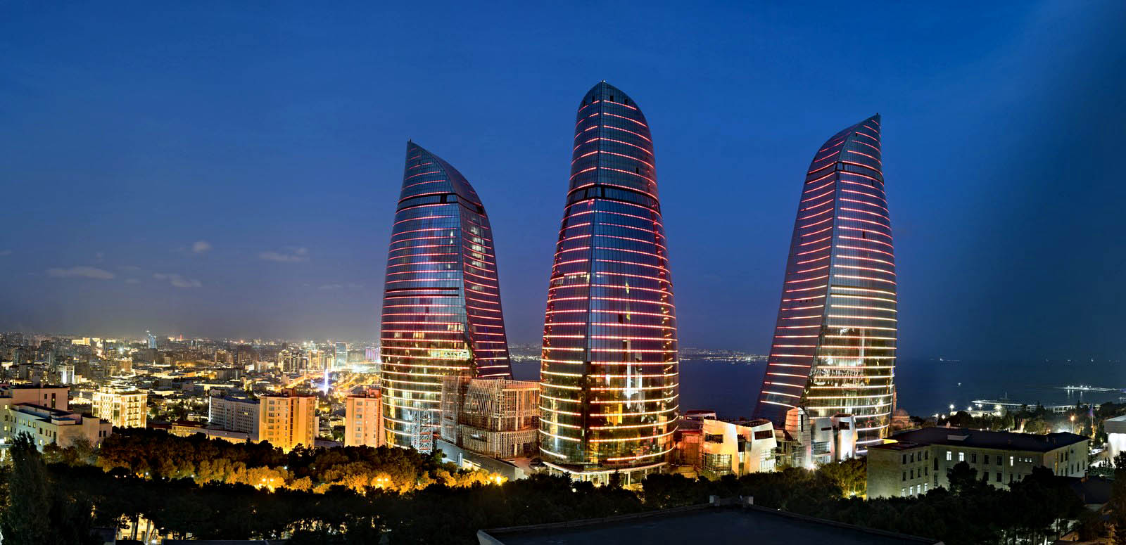 Completed in 2012, the Flame Towers are the tallest skyscrapers in Baku. © Niyaz from Baku