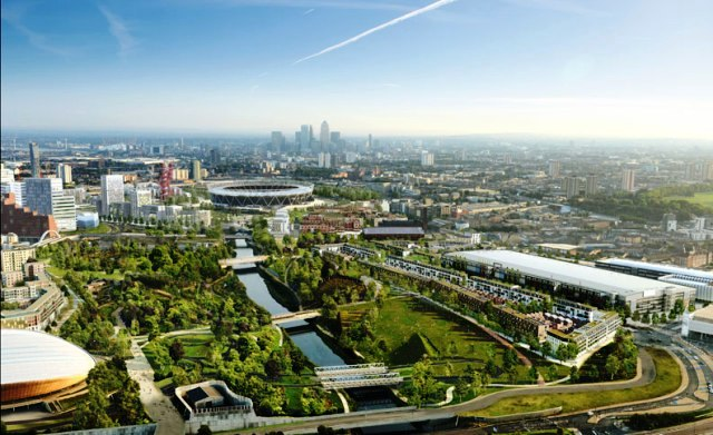 A CGI projection of the new East Wick and Sweetwater neighbourhoods at the Queen Elizabeth Olympic Park © ODA/LLDC