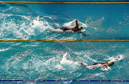 Action from the swimming competition at the Caixa Loterias Circuit event in Fortaleza