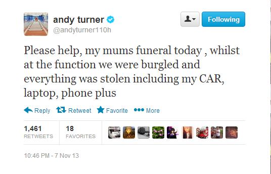 Andy Turner announced the burglary via social media