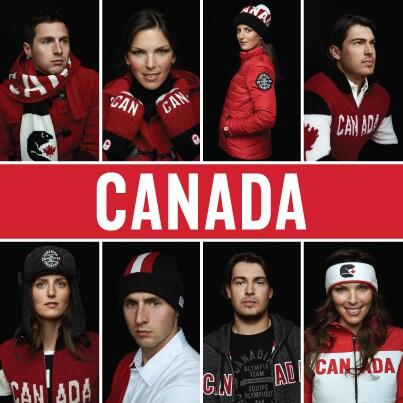 Canadian athletes pose in their new kit for the Winter Olympic and Paralympic Games unveiled by Hudson's Bay