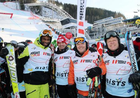 Claude Stricker participating in a charity skiing event alongside Liechtensteins double Olympic giant slalom medalist Andreas Wenzel © AISTS