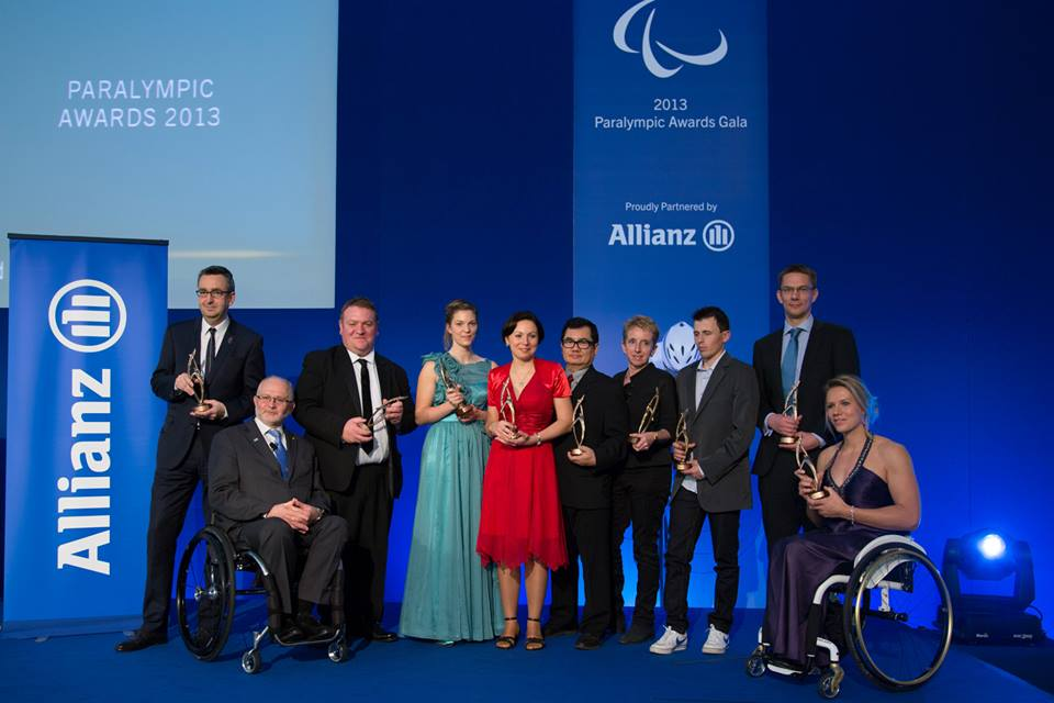 Esther Vergeer alongside Sir Philip Craven and other winners at the Paralympics Awards in Athens ©George Santamouris