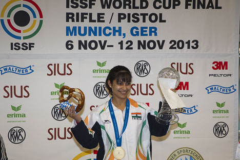 Indias Heena Sidhu took an unexpected gold on day three of the ISSF Rifle and Pistol World Cup Finals