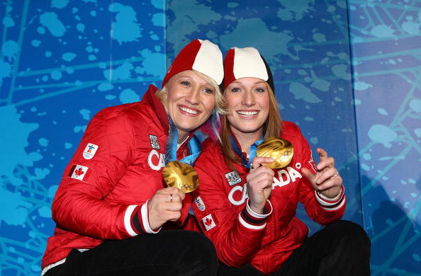 Kaillie Humphries poses alongside former partner Heather Moyse after winning two-man bobsleigh gold in Vancouver © Getty Images