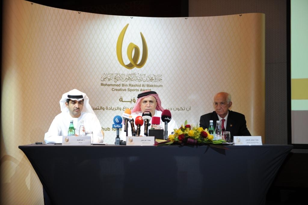 Mattar Al Tayer, Mustapha Larfaoui, Ahmad Al Sharif and Nasser Aman Al Rahma announced the Mohammed Bin Rashid Al Maktoum Creative Sports Award winners today ©Dubai Sports Council