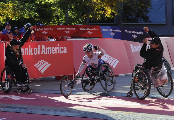 McFadden winning one of her many races in 2013 at the Chicago Marathon ©Getty Images