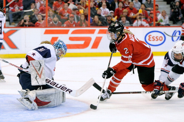 Meghan Agosta-Marciano competing at the 2013 World Championships ahead of her third Olympic Games © Getty Images
