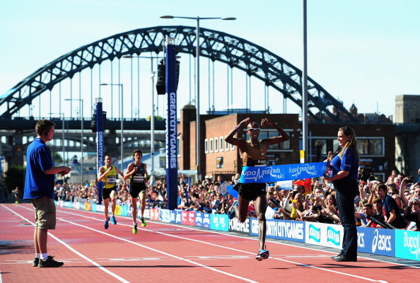 Britain's Mo Farah wins the two miles at the 2012 City Games in Newcastle @Getty Images
