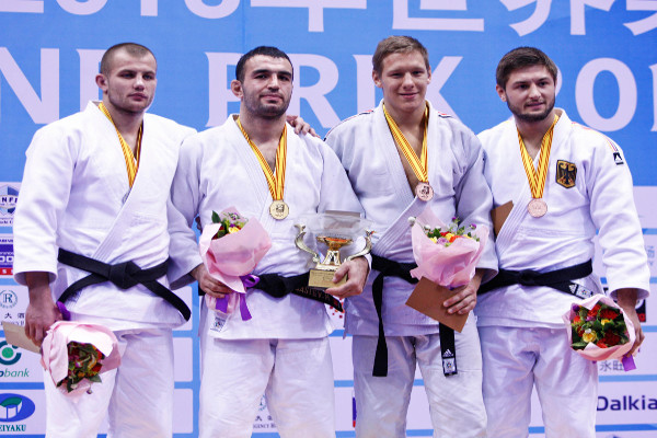 Murat Gasiev stands on top of a Judo Grand Prix podium for the first time after Russian and German judoka swept the under 90kg medal positions
