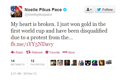 Noelle Pikus-Pace voices her frustration with her disqualification in Calgary via social media