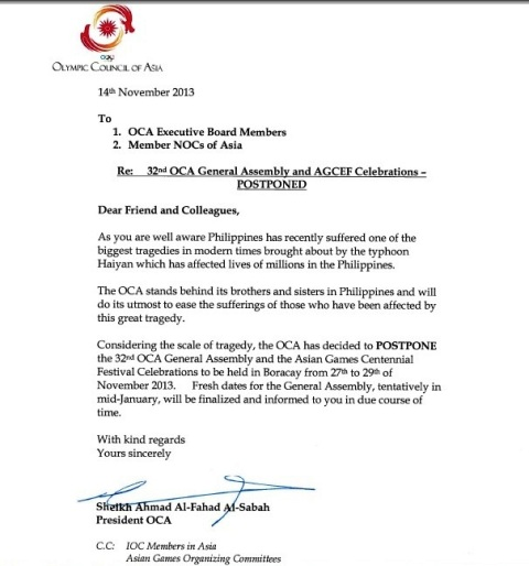 OCA President Sheikh Ahmad has written to Executive Board Members and all Asian NOCs confirming the postponement of the OCA General Assembly in Boracay