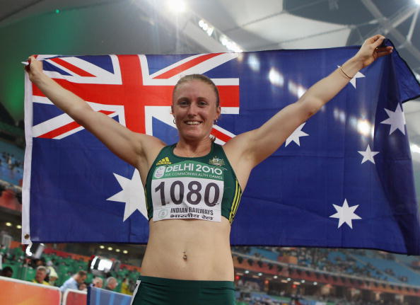 Sally Pearson celebrates winning the Commonwealth Games gold medal in the 100 metres hurdles at Delhi 2010 @Getty Images