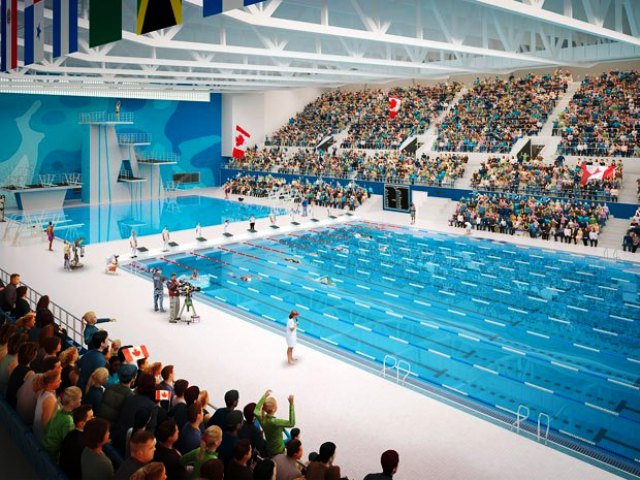 The CIBC Aquatics Centre and Field House is the largest of the new Toronto 2015 Games venues to be built from scratch