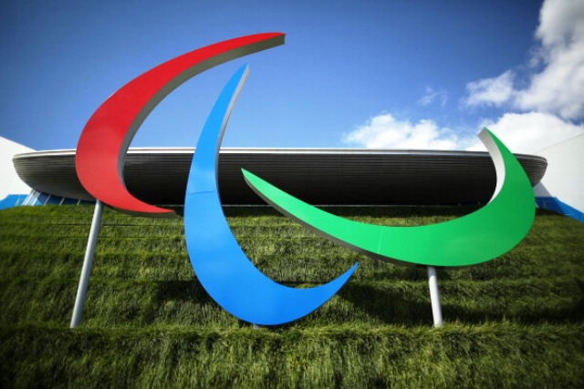 The Paralympic symbol on display outside the Aquatics Centre in the Olympic Park during the 2012 Paralympic Games
