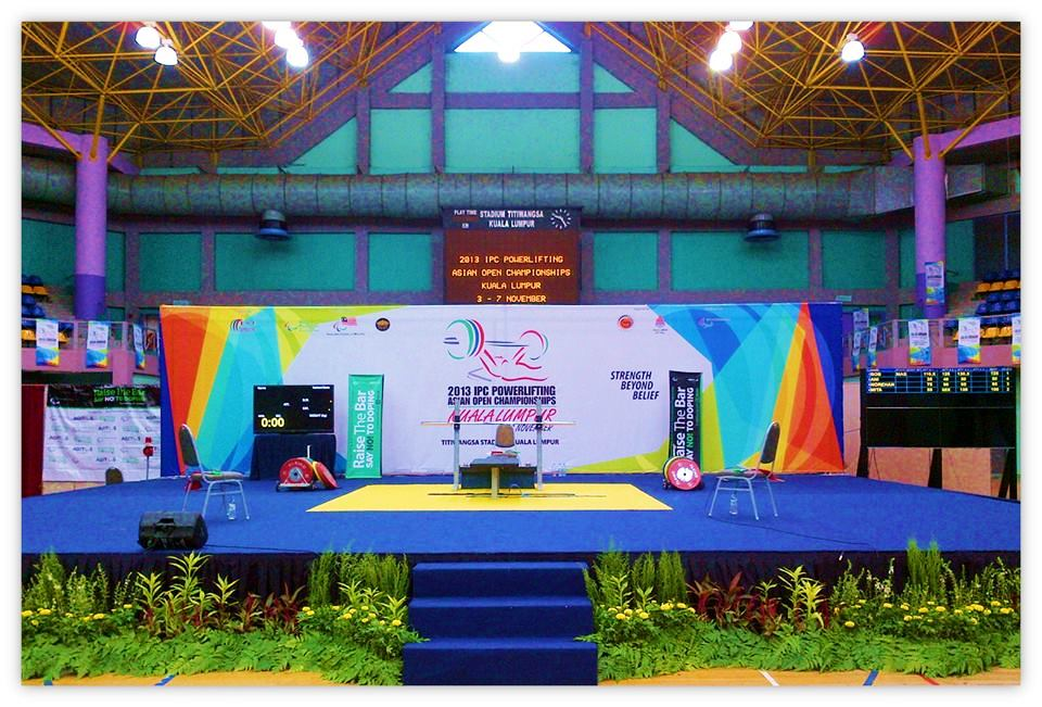 The stage at the 2013 IPC Powerlifting Asian Open Championships in the Titiwangsa Stadium has witnessed 10 world records
