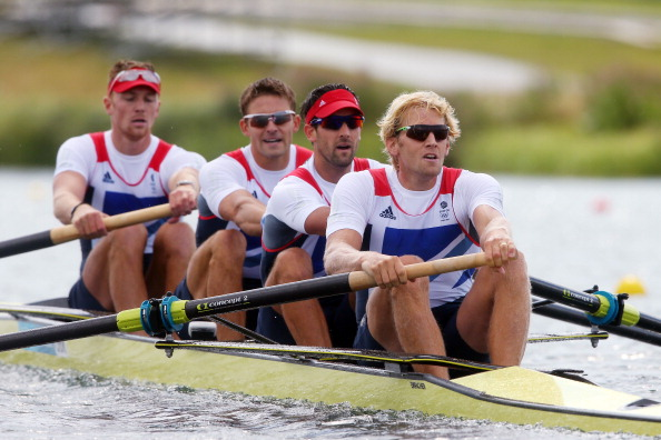 Tom James alongside team mates Alex Gregory, Peter Reed and Andrew Triggs-Hodge on the way to gold at London 2012 ©AFP / Getty Images