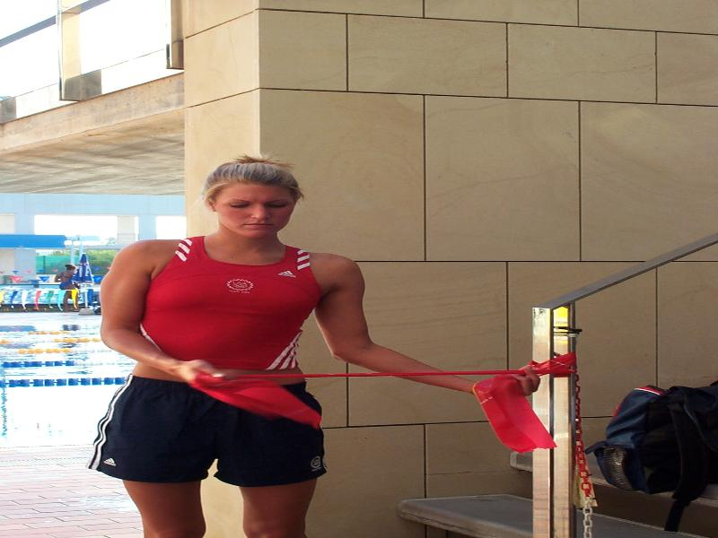 US swimmer Kristen Caverly at Mallorca training camp prior to Athens 2004 Olympic Games