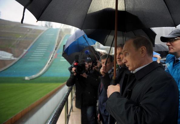 Russian President Vladimir Putin visited the RusSki Gorki Jumping Center in the Krasnaya Polyana as final preparations for Sochi 2014 begin ©AFP/Getty Images