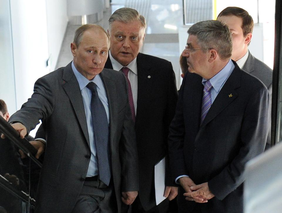 Russian President Vladimir Putin (left) assured new IOC chief Thomas Bach (right) last week that the Olympics and Paralympics in Sochi next year would be safe