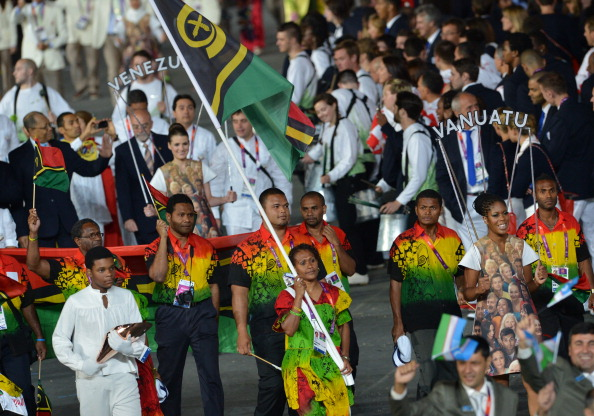 Vanuatu's athletes at the London 2012 Opening Ceremony - the women beach volleyball players narrowly failed to qualify