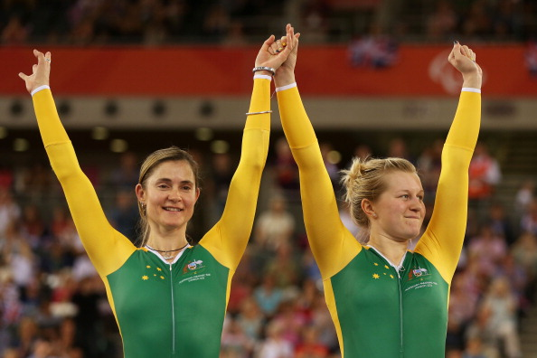 Felicity Johnson (left) claimed her fourth national title with victory in the tandem time trial ©Getty Images