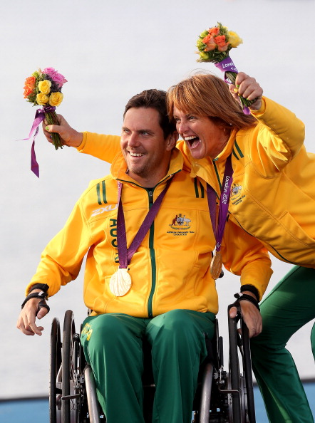 Liesl Tesch took gold with partner Dan Fitzgibbon in the SKUD 18 class at the London 2012 Paralympic Games ©Getty Images