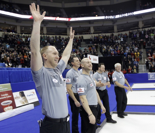 Brad Jacobs and his team beat Team Morris in the final of the Roar of the Rings at Winnipeg, Manitoba, Canada ©Getty Images